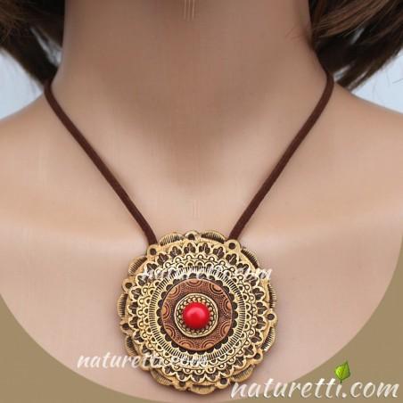 Amulett aus sibirischer Birkenrinde MAGICA mit Schutzstein Koralle
