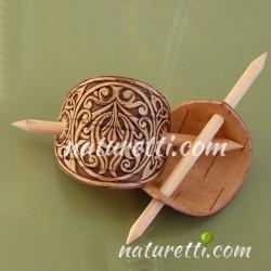 Haarspange aus Holz mit Holzstab
