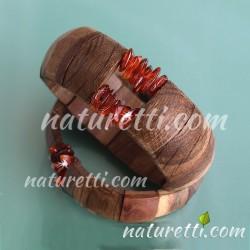 Holzschmuck Armband Hand Made aus Holz und Bernstein