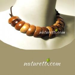 Damen Collier, Designer Holzschmuck, Halskette aus verschiedenen Holzarten mit verstellbarer Länge