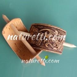Haarspange aus Holz mit Holzstab im Ethnostyle