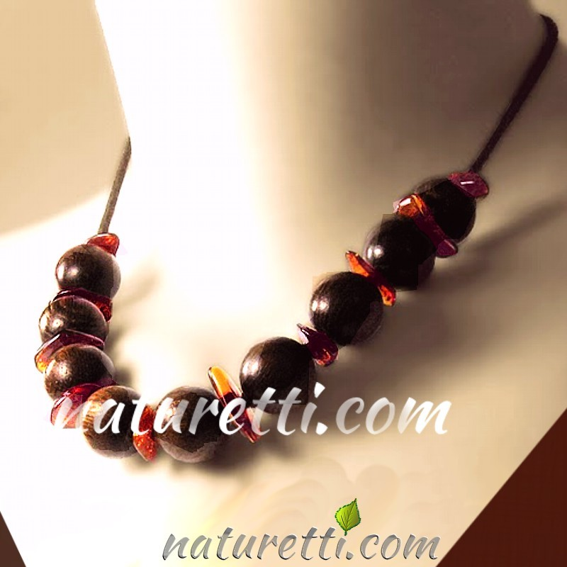 NECKLACE WOODEN BEADS with AMBER