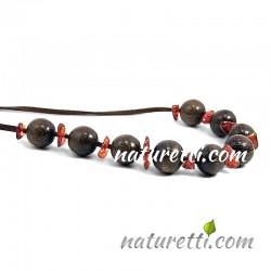 Damenschmuck Halskette aus Holz mit Bernstein