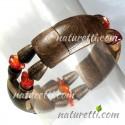 Holzschmuck Damen Armschmuck Armband aus Holz und Bernstein