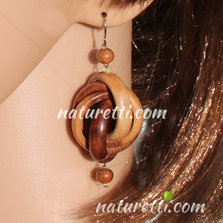 Damenschmuck Ohrhänger aus Holz SPACE WHIRL beige