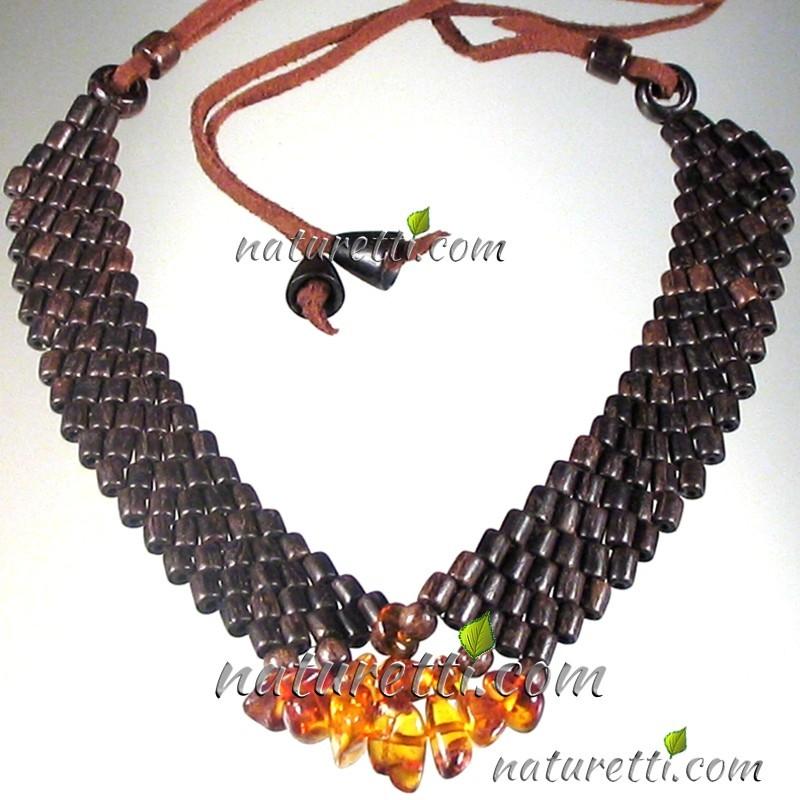 Damen Holzschmuck Halskette aus Holz mit Bernstein
