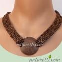 Collier Halskette aus dunklem Holz