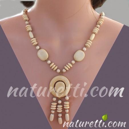 Holzschmuck Mittellange Damen Halskette aus Holz