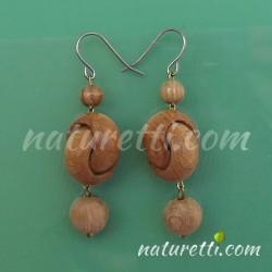 Holz Ohrhänger 2 Ringe beige