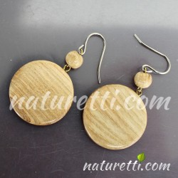 Holz Ohrringe Glücksmünze hell