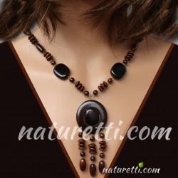 Halskette aus Holz dunkel