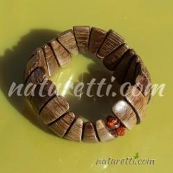 Armband aus Holz und Bernstein