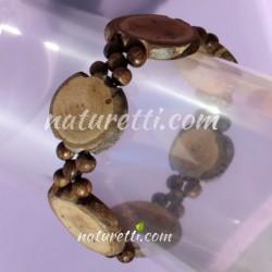Armband aus Astscheiben bewusst mit Baumrinde naturbelassen
