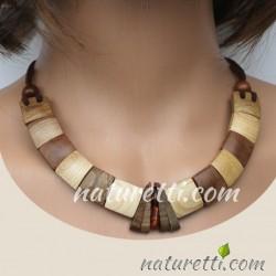 Damen Holzschmuck Halskette mit Bernstein