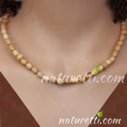 Gummi Halskette aus Holz naturbelassen