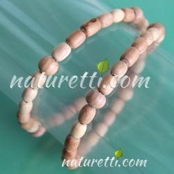 Gummi Halskette als Armband aus Holz