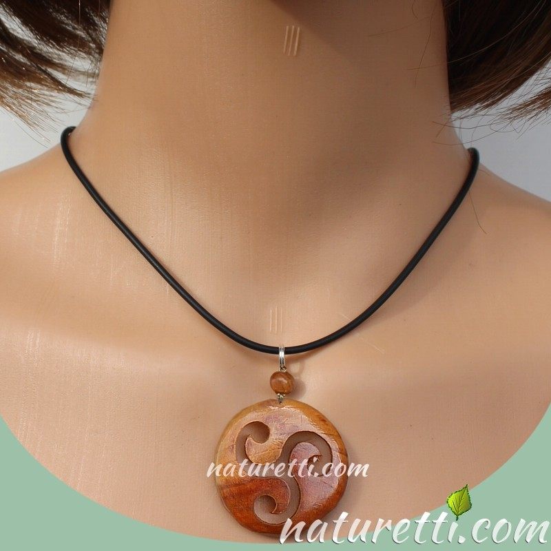 Holz Kettenanhänger Amulett