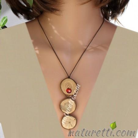 Holzschmuck Lange Halskette aus Holz und Bernstein, verstellbar