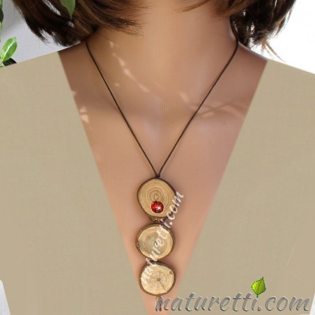 Lange Halskette aus Holz und Bernstein, verstellbar