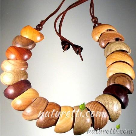 Holzschmuck STATEMENT Halskette aus Holz mit verstellbarer Länge