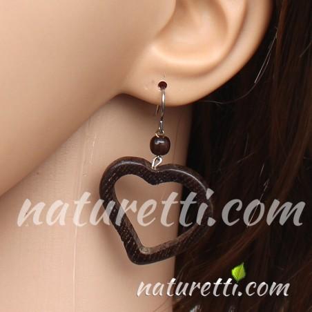 Herz Ohrhänger aus Holz