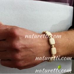 Holzschmuck Unisex Armband Elfenbeinfarbe