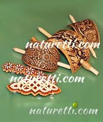 Holz Haarspangen aus sibirischem Birkenholz kunstvoll gefertigt im Ethnostyle
